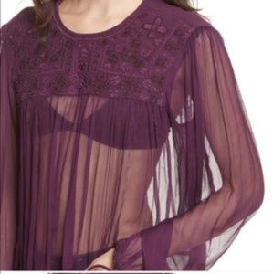 NWT FREE PEOPLE Sheer embroidered